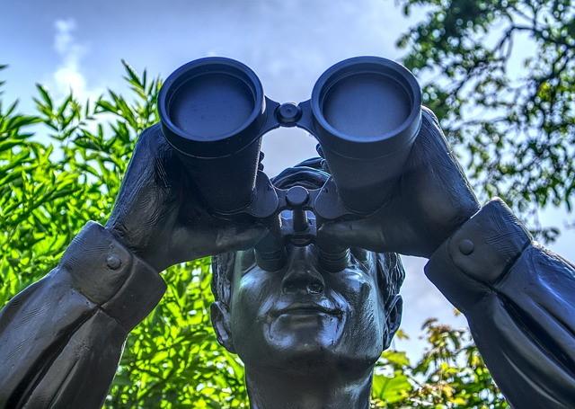 Statue using binoculars under tree branches